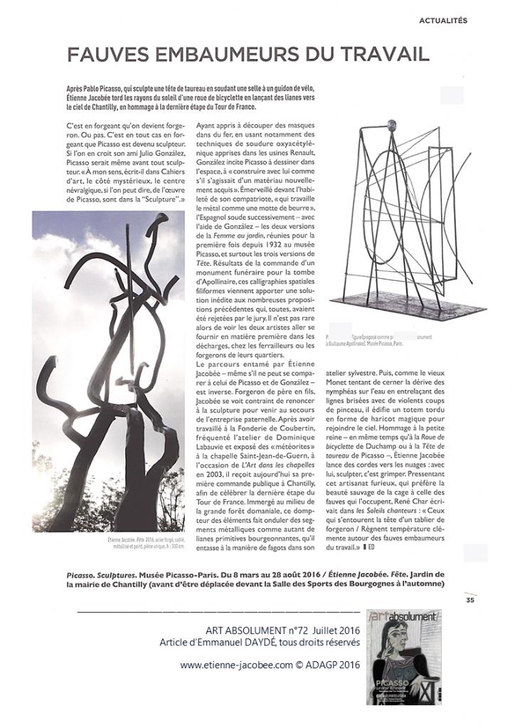 ART ABSOLUMENT n°72 - Fête E. JACOBÉE - article E. DAYDÉ, Juillet 2016